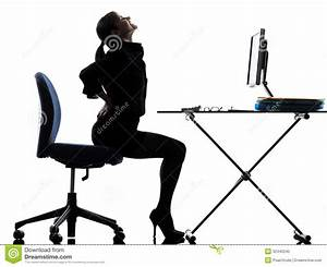 Business Woman Sitting Backache Pain Silhouette Royalty ...