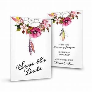 Save The Date Karte : save the date karte im boho stil mit traumf nger und ~ A.2002-acura-tl-radio.info Haus und Dekorationen