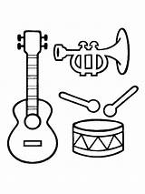 Coloring Musical Instrument Pages Instruments Printable Bright Choose Colors Favorite sketch template