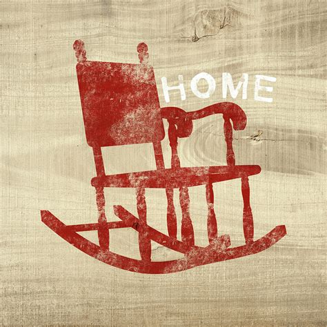 rocking chair home by woods mixed media by