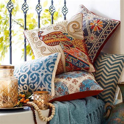 boho sari peacock pillow pier  imports pillows pillow collection peacock pillow
