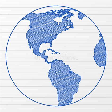 drawing world globe  stock vector illustration