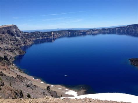 Crater Lake Boat Rental by The White Spot At The Bottom Is The Boat Picture Of