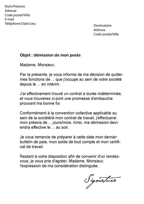 modele de lettre de demission cdd lettre de d 233 mission cdd int 233 mod 232 le de lettre