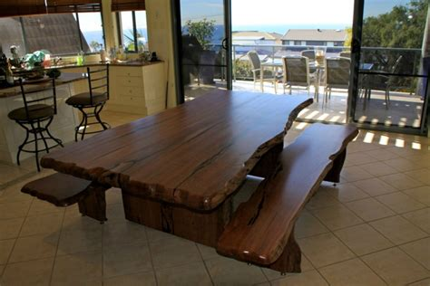 river red gum dining table  bench seats