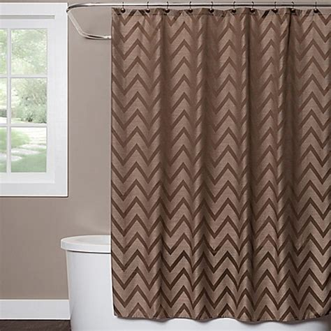 brown shower curtain saturday chevron shower curtain in brown bed bath
