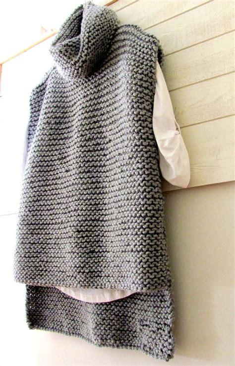chunky sweater vest cowl knit wool  acrylic vest long