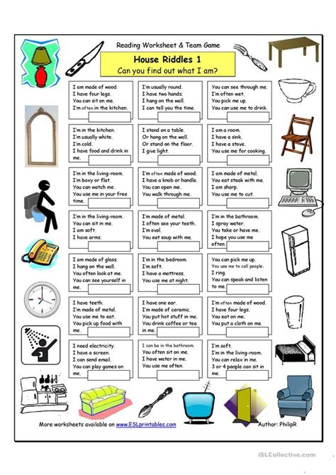 esl riddles worksheets