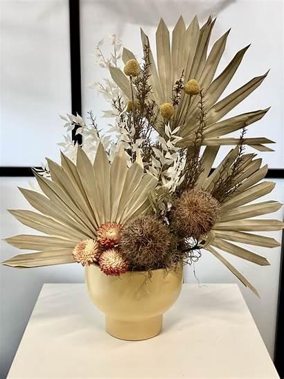 Dried Flower Arrangement Pot Mustard Flowers Tall