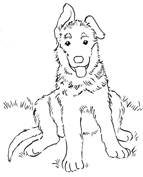 german shepherd puppy coloring page bell