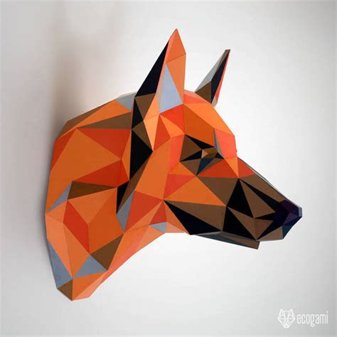 german shepherd dog papercraft diy faux  ecogami  zibbet