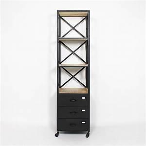 Meuble Bois Et Noir : meuble colonne bois et m tal d co industrielle pinterest m tal noir colonne de ~ Teatrodelosmanantiales.com Idées de Décoration