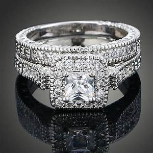 Sz 6 9 princess cut 10k white gold filled aaa cubic for 10k white gold cz wedding ring sets