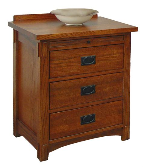 Oak Nightstand With Drawers by Solid Oak Mission 3 Drawer Stand Ebay