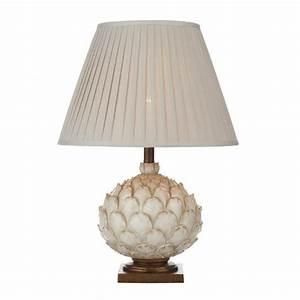 Cream table lamp in artichoke design double insulated for Large cream floor lamp