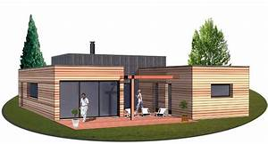 Maison Architecte Plain Pied : construction maison ossature bois de plain pied avec terrasse maison bois architecte ~ Melissatoandfro.com Idées de Décoration