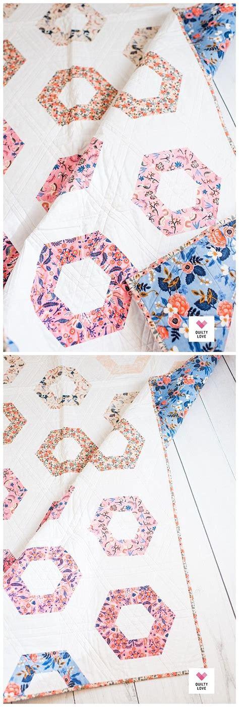 hexie rows quilt pattern  modern hexagon quilt
