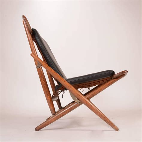 teak and leather folding side chair for sale at 1stdibs