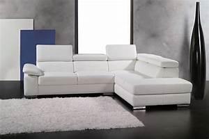 canape d39angle en cuir italien 5 places helios blanc With canape angle cuir italien