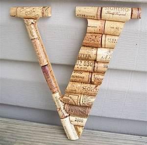 wine cork letter initial monogram vhandmade home wall With monogram wine cork holder letter f