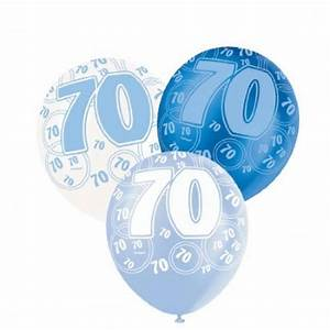 Blue Glitz 70th Birthday Age 70 Pack 6 Latex Party