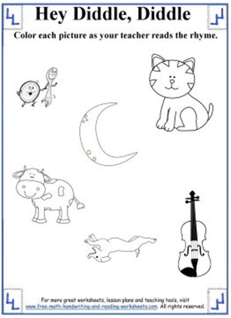 hey diddle diddle nursery rhyme printable activity