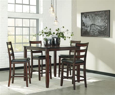 5 dining room sets coviar brown 5 piece counter height dining room set d385 223 ashley