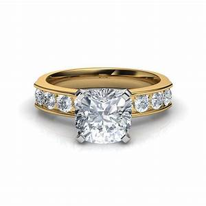 channel set cushion cut diamond engagement ring in platinum With cushion cut diamond wedding ring sets