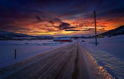 Winter Dusk Snow Road Twilight Sunset Village