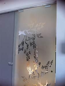 Porte Coulissante Miroir Sur Mesure : porte coulissante suspendue en verre tremp verre et ~ Premium-room.com Idées de Décoration
