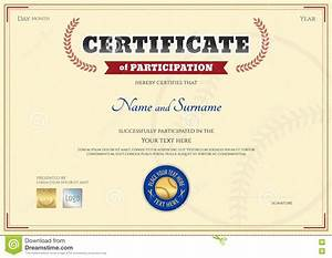 Sport Certificate Templates Certificate Of Participation Template In Baseball Sport Theme Stock Vector Illustration Of