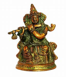 Buy Ark Creation Hindu God Krishna Sitting With Flute ...