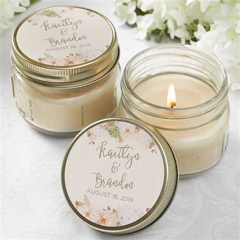 Modern Floral Wedding Personalized Mason Jar Candle Favors