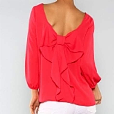 coral blouses and tops 55 tops coral bow back blouse from trae 39 s closet on