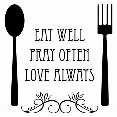 Eat Well Wall Spoon Fork Quotes Decal