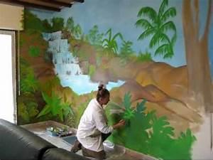 Fresque murale salon nov 2010 cascade tropiques izawmv for Decoration mur exterieur jardin 5 decoration salon peinture mur