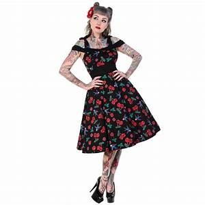 robe vintage noire rockabilly cerises tete de mort 50s With robe pin up vintage