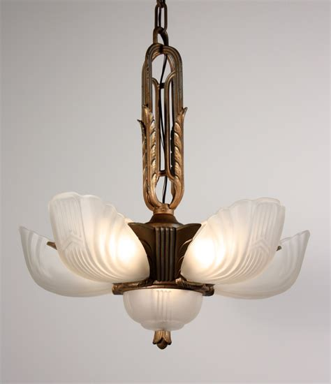 stunning antique six light deco slip shade chandelier