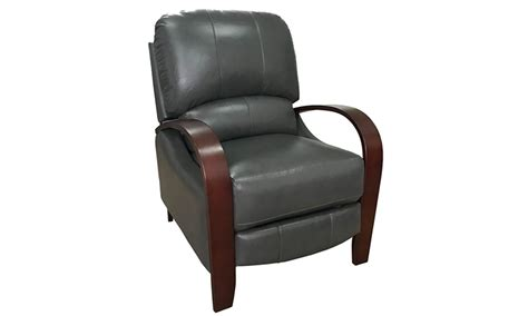 Contemporary Gray Leather Push Back Recliner