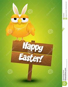 A Cute Chick Holding Happy Easter Sign Cartoon Vector ...