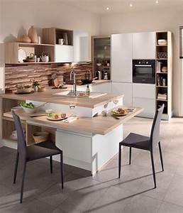 Cuisine avec coin repas table bar ilot pour manger for Idee deco cuisine avec table design conforama