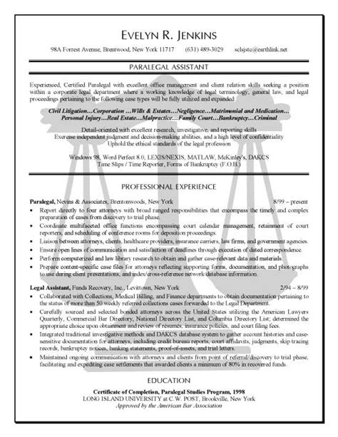 Exle Resume Professional Experience by Paralegal Resume Exle Professional Experience