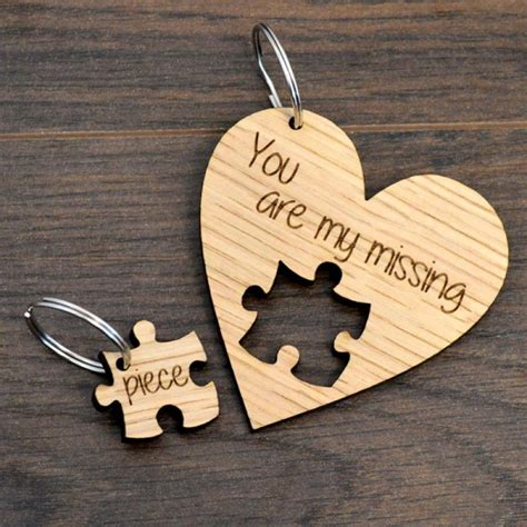 missing piece jigsaw heart keyring husband wife valentines