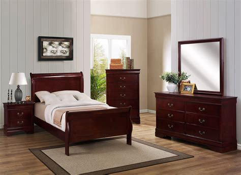 cherry twin sleigh bedroom set  furniture place