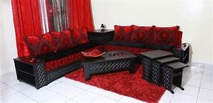 Banquette Salon Marocain : banquettes de salon marocain en bois sculpt deco salon ~ Teatrodelosmanantiales.com Idées de Décoration
