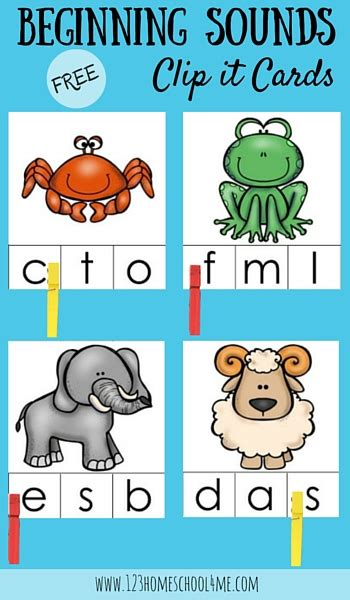 Free Beginning Sounds Clip It Cards