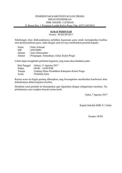 Contoh Surat Perintah Kerja Perusahaan by Contoh Surat Perintah Yang Baik Dan Benar
