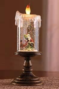 snow christmas candle lighted led santa claus globe jar flameless festive gift ebay