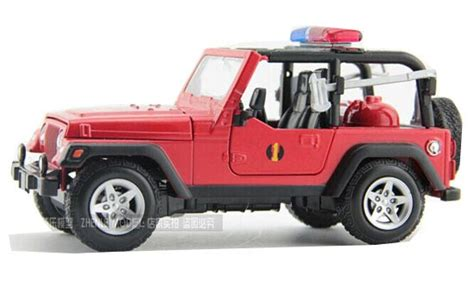 kids red jeep red 1 24 scale kids diecast jeep wrangler fire fighting