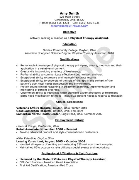 physical therapy assistant resume exle resumes design